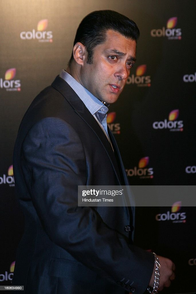 Indian actor <a gi-track='captionPersonalityLinkClicked' href=/galleries/search?phrase=Salman+Khan+-+Actor&family=editorial&specificpeople=558807 ng-click='$event.stopPropagation()'>Salman Khan</a> during 4th anniversary party of Colors at Grand Hyaat on February 2, 2013 in Mumbai, India.