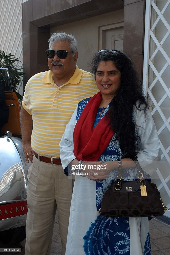 Indian actor Satish Shah with his wife Ridhima during Third Cartier Travel With Style Concours D'Elegance Vintage car show at 2013 Taj Lands End on February 10, 2013 in Mumbai, India.