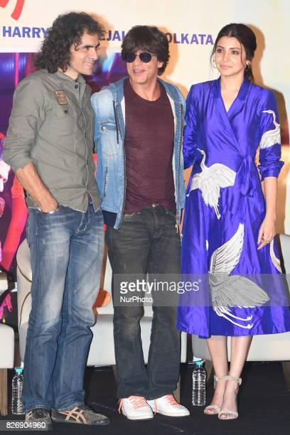 Indian Actor Shah Rukh Khan and Actress Anushka Sharma and Film director Imtiaz Ali at the upcoming film Jab Harry Met Sejal promotion on August...