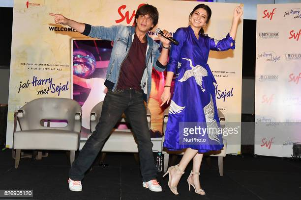 Indian Actor Shah Rukh Khan and Actress Anushka Sharma perform at the press conferences his upcoming film Jab Harry Met Sejal promotion on August...