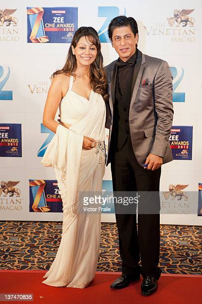 Indian actor Shah Rukh Khan and his wife Gauri Khan attends red carpet during the Zee Cine Awards 2012 ceremony at The Venetian MacaoResortHotel on...