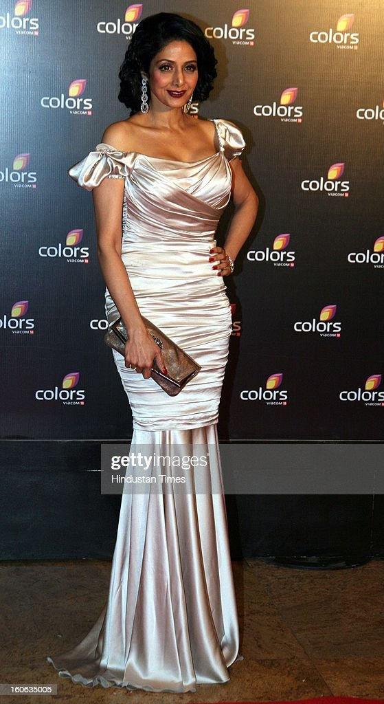 Indian actor Sridevi during 4th anniversary party of Colors at Grand Hyaat on February 2, 2013 in Mumbai, India.