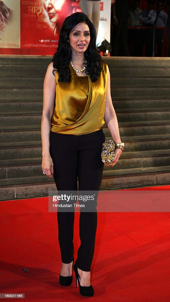 Indian Actor Sridevi during premier of Bollywood movie Mai at Cinemax on January 31, 2013 in Mumbai, India.