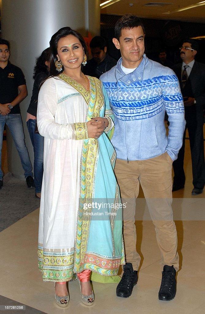 Indian actors Aamir Khan and Rani Mukherjee attending special screening of Film 'Talaash' at Phoenix Marketcity Mall, Kurla on November 29, 2012 in Mumbai, India.