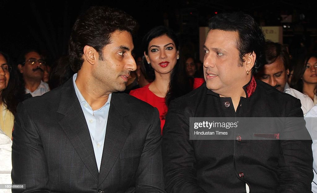 Indian actors Abhishek Bachchan and Govinda during Global Sound of Peace Concert and Album Launch at Andhery Sports Complex on January 30, 2013 Mumbai, India.