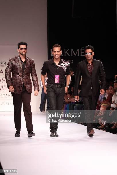 Indian actors Aftab Shivdasani Manoj Bajpai fashion designer Troy Costa walk the runway at the Troy Costa show at Lakme Fashion Week Spring/Summer...