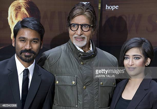 Indian actors Akshara Haasan Amitabh Bachchan and Dhanush pose for photographers at a photocall for the film 'Shamitabh' in central London on January...