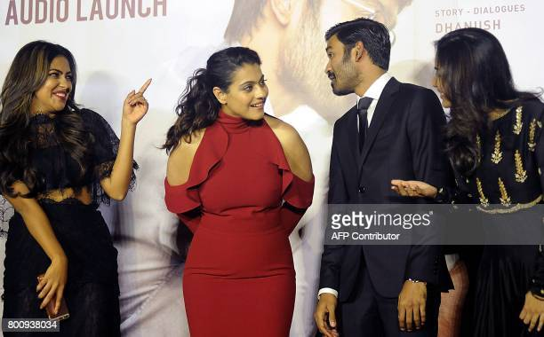 Indian actors Amala Paul Kajol Devgn Dhanush and director Soundarya Rajnikanth attend the trailer and music launch of the upcoming film VIP 2' in...