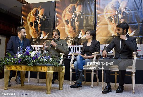 Indian actors Amitabh Bachchan Akshara Haasan and Dhanush address a press conference to promote the film 'Shamitabh' in central London on January 27...