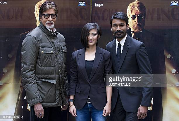 Indian actors Amitabh Bachchan Akshara Haasan and Dhanush pose for photographers at a photocall for the film 'Shamitabh' in central London on January...