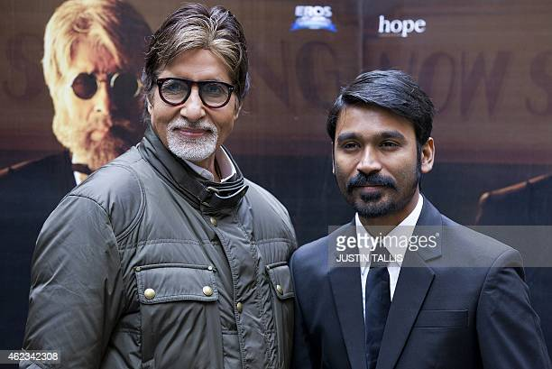Indian actors Amitabh Bachchan and Dhanush pose for photographers at a photocall for the film 'Shamitabh' in central London on January 27 2015 AFP...