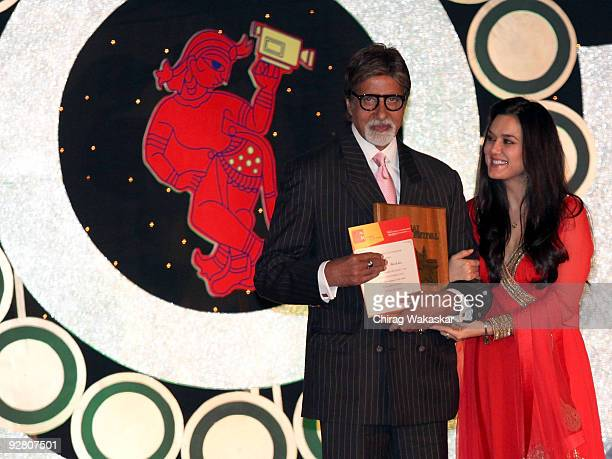 Indian actors Amitabh Bachchan and Preity Zinta attend Day 8 of the MAMI Film Festival finale held at J W Mariott on November 5 2009 in Mumbai India
