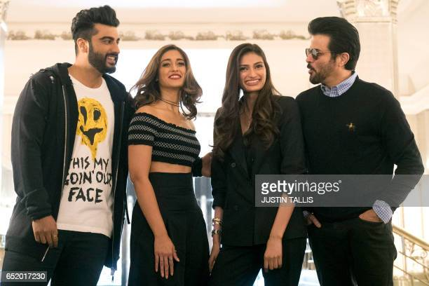 Indian actors Arjun Kapoor Ileana D'Cruz Athiya Shetty and Anil Kapoor pose during a photocall to promote their upcoming Bollywood comedy Mubarakan...