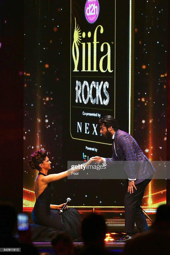 Indian actors Deepika Padukone and Fawad Khan attend the IIFA Rocks awards 2016 at IFEMA on June 24 2016 in Madrid Spain