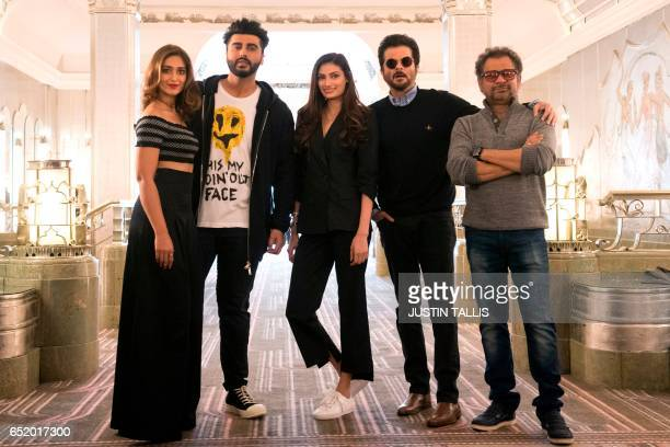 Indian actors Ileana D'Cruz Arjun Kapoor Athiya Shetty Anil Kapoor and Indian director Anees Bazmee pose during a photocall to promote their upcoming...