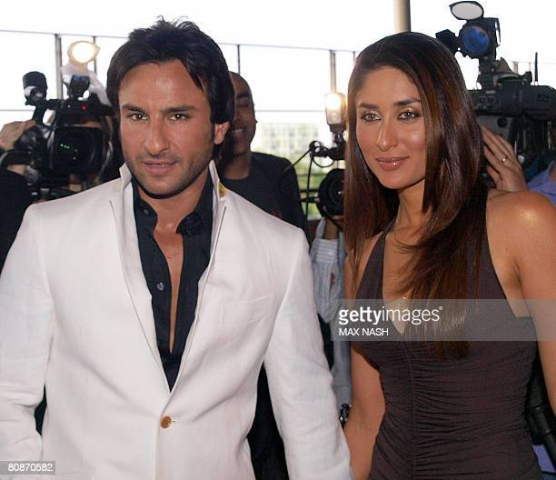 Indian actors Kareena Kapoor and Saif Ali Khan arrive for the Zee Cine film awards 2008 at the ExCel center in London on April 26 2008 AFP Photo /...