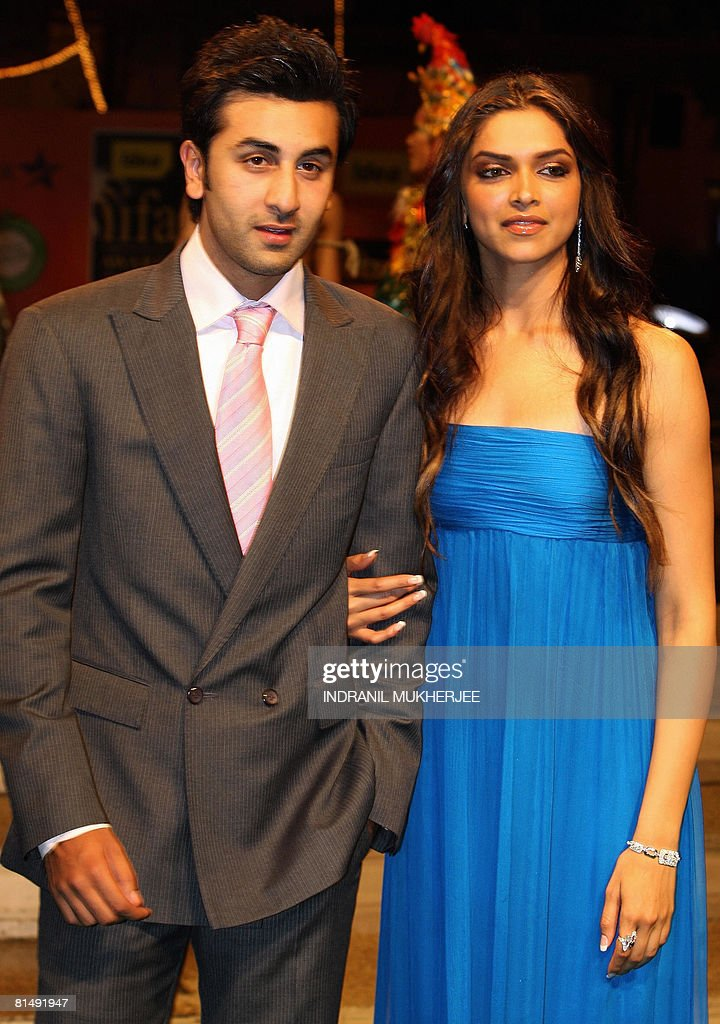 Indian actors Ranbir Kapoor (L) and <a gi-track='captionPersonalityLinkClicked' href=/galleries/search?phrase=Deepika+Padukone&family=editorial&specificpeople=869186 ng-click='$event.stopPropagation()'>Deepika Padukone</a> pose on arriving for the International Indian Film Academy (IIFA) Awards 2008 ceremony in Bangkok on June 8, 2008. IIFA- one the most respected South Asian film academy-is a movement aimed to bring together the worlds of Indian and International Cinema and business on one common global platform. It strives to build bridges through cinema to create ?One People, One World?. IIFA weekend Bangkok 2008 the three-day long Bollywood extravaganza from June 6-8, its 9th year, starting with the premiere of the film Sarkar Raj, will include a fashion night reflecting the trends and styles that rule the Indian Film Industry will see its culmination with the coveted IDEA IIFA Awards 2008. AFP PHOTO/Indranil MUKHERJEE
