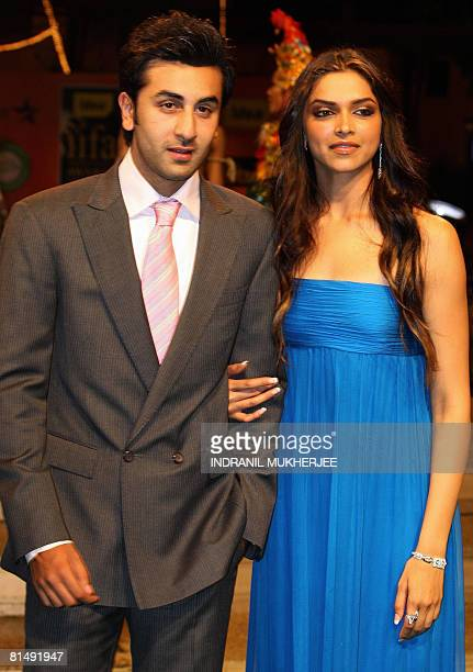 Indian actors Ranbir Kapoor and Deepika Padukone pose on arriving for the International Indian Film Academy Awards 2008 ceremony in Bangkok on June 8...