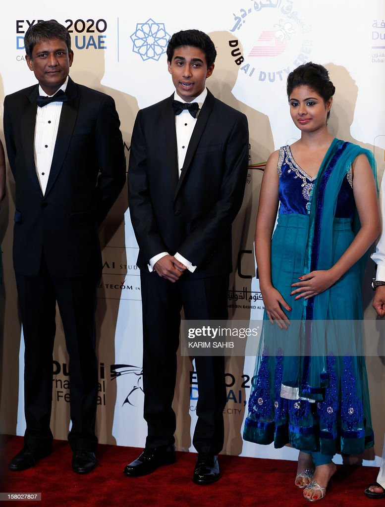 Indian actors Shravanthi Sainath (R), Suraj Sharma (C) and Adil Hussain (L) attend the opening ceremony of the Dubai International Film Festival in Gulf emirate of Dubai on December 9, 2012.