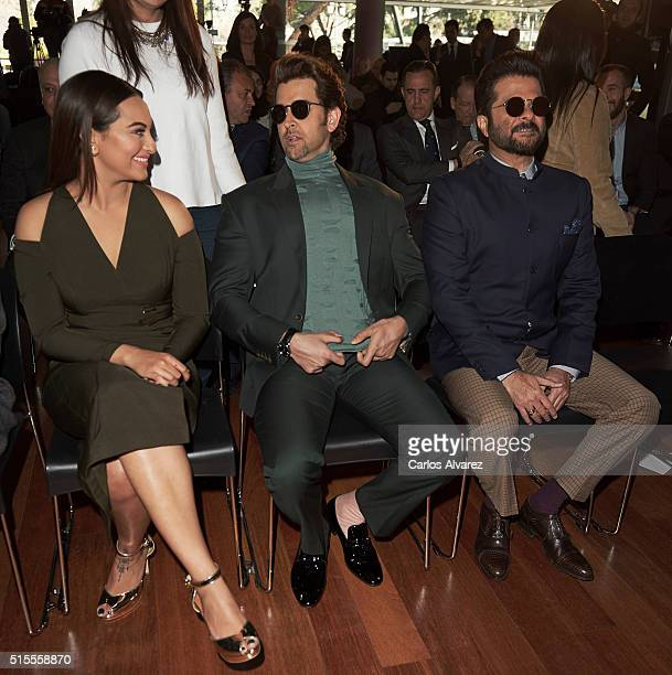 Indian actors Sonakshi Sinha Hrithik Roshan and Anil Kapoor attend the 17th International Indian Film Academy awards press conference at the Retiro...