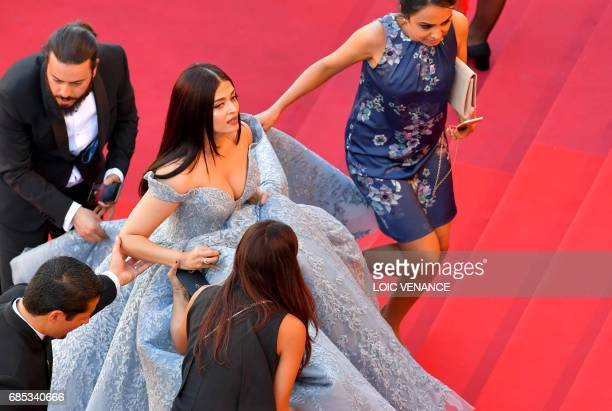 Indian actress Aishwarya Rai Bachchan arrives on May 19 2017 for the screening of the film 'Okja' at the 70th edition of the Cannes Film Festival in...