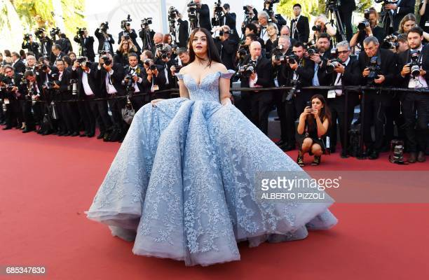 TOPSHOT Indian actress Aishwarya Rai Bachchan poses as she arrives on May 19 2017 for the screening of the film 'Okja' at the 70th edition of the...