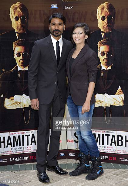 Indian actress Akshara Haasan and Indian actor Dhanush pose for photographers at a photocall for the film 'Shamitabh' in central London on January 27...