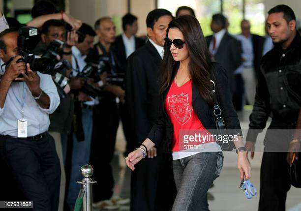 Indian actress and coowner of 'Kings Punjab XI' Indian Premier League cricket team Preity Zinta arrives to take part in The IPL player auction in...