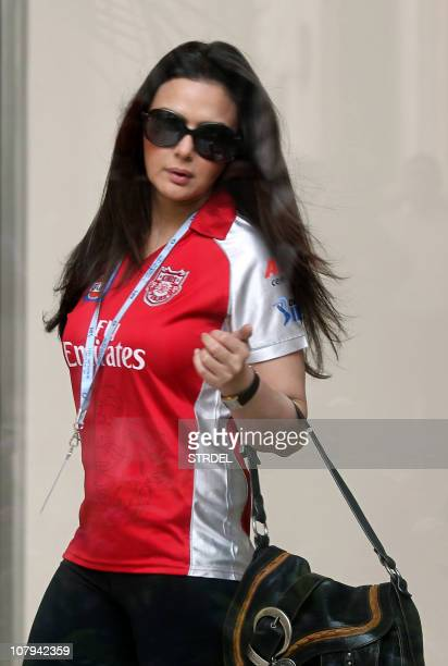 Indian actress and coowner of 'Kings Punjab XI' Indian Premier League cricket team Preity Zinta arrives to take part in the second day of The IPL...