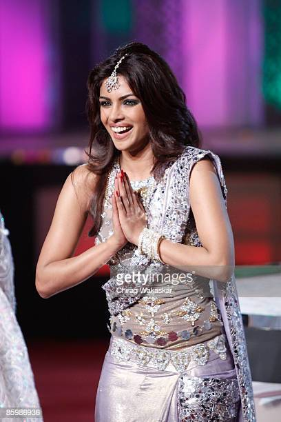 Indian actress and Former Miss World Priyanka Chopra performs at the Pantaloons Femina Miss India 2009 contest held at Andheri Sports Complex on...