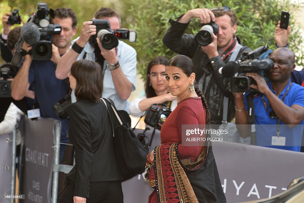 Indian actress and member of the Feature Film Jury Vidya Balan arrives on May 14, 2013 at the Martinez Hotel in Cannes to attend a photocall of the Jury on the eve of the 66th edition of the Cannes Film Festival. Cannes, one of the world's top film festivals, opens on May 15 and will climax on May 26 with awards selected by a jury headed this year by Hollywood legend Steven Spielberg.