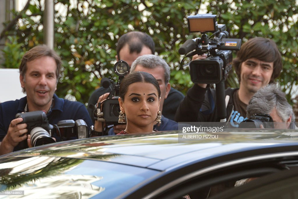Indian actress and member of the Feature Film Jury, Vidya Balan arrives on May 14, 2013 at the Martinez Hotel in Cannes to attend a photocall of the Jury on the eve of the 66th edition of the Cannes Film Festival. Cannes, one of the world's top film festivals, opens on May 15 and will climax on May 26 with awards selected by a jury headed this year by Hollywood legend Steven Spielberg.
