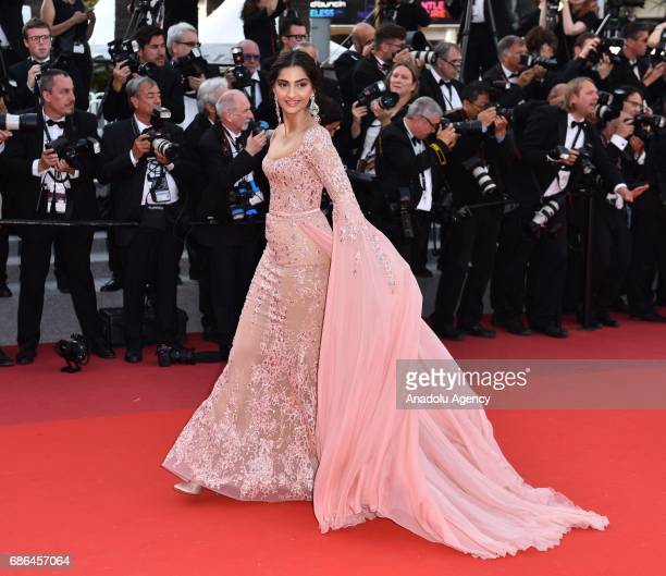 Indian actress Deepika Padukone arrives for the film The Meyerowitz Stories in competition at the 70th annual Cannes Film Festival in Cannes France...