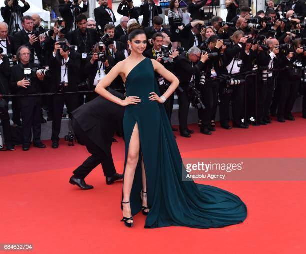 Indian actress Deepika Padukone arrives for the screening of the film 'Nelyubov' in competition at the 70th annual Cannes Film Festival in Cannes...