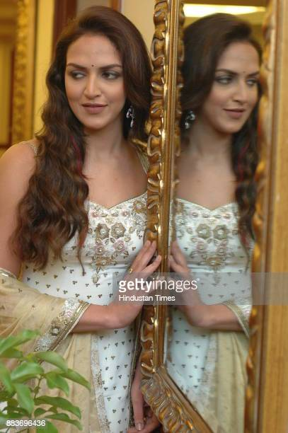 Indian actress Esha Deol during photo shoot at hotel Taj in New Delhi on Wednesday