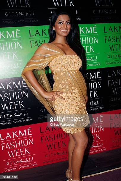 Indian actress Geeta Basra at day five of the Lakme Fashion Week at NCPA on October 24 2008 in Bombay India