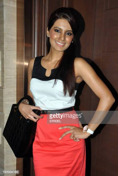 Indian actress Geeta Basra poses during an event for a jewellery company in Mumbai on September 14 2012 AFP PHOTO/ STR