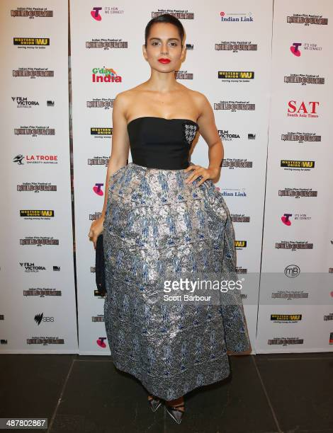 Indian actress Kangana Ranaut arrives at the Indian Film Festival of Melbourne Awards at Princess Theatre on May 2 2014 in Melbourne Australia