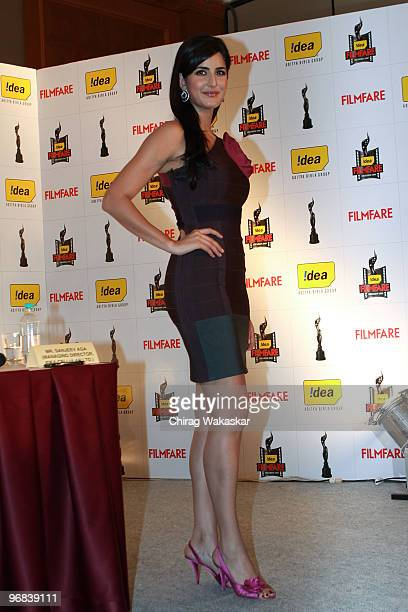 Indian actress Katrina Kaif attends press conference to announce the 55th Filmfare Awards at the J W Mariott on February 17 2010 in Mumbai India