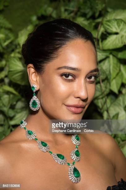 Indian Actress Lisa Haydon wearing Nirav Modi Green Pearl Emerald attends the Nirav Modi Gala Dinner At La Biennale Paris at Le Grand Palais on...