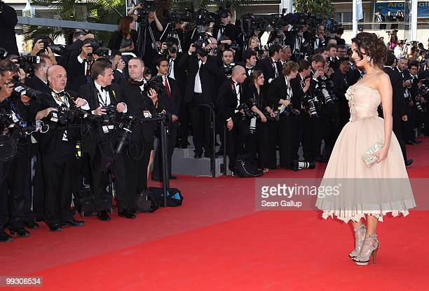 Indian actress Mallika Sherawat attends the 'Wall Street Money Never Sleeps' Premiere at the Palais des Festivals during the 63rd Annual Cannes Film...
