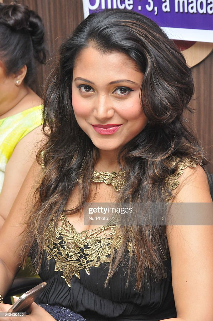 Indian Actress Meghna Halder meets the press in Kolkata, India, on June 28, 2016.