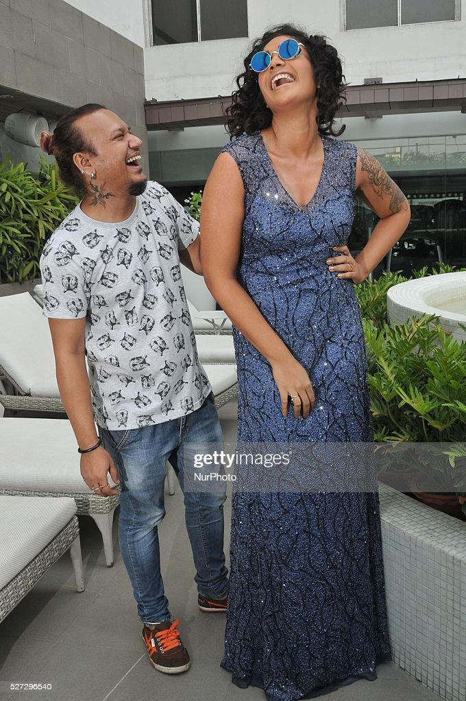 Indian Actress Mumtaz Sorcar (Daughter of Magician Junior P C Sorcar ) and Fashion Designer Tejosh Gandhi during Indian Fashion Designer Tajosh Gandhi new collection display in Kolkata, India, on 2nd May 2016.