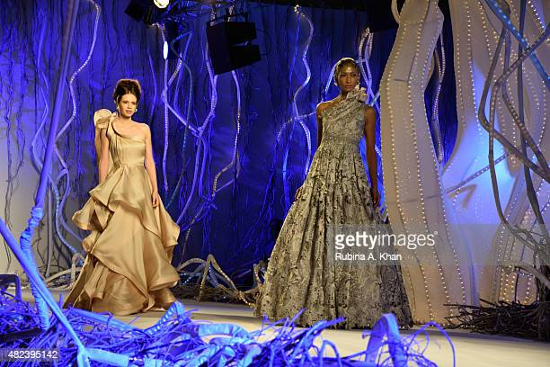 Indian actress of French descent Kalki Koechlin models for Gaurav Gupta's couture line that he showcased on the second day of the Fashion Design...