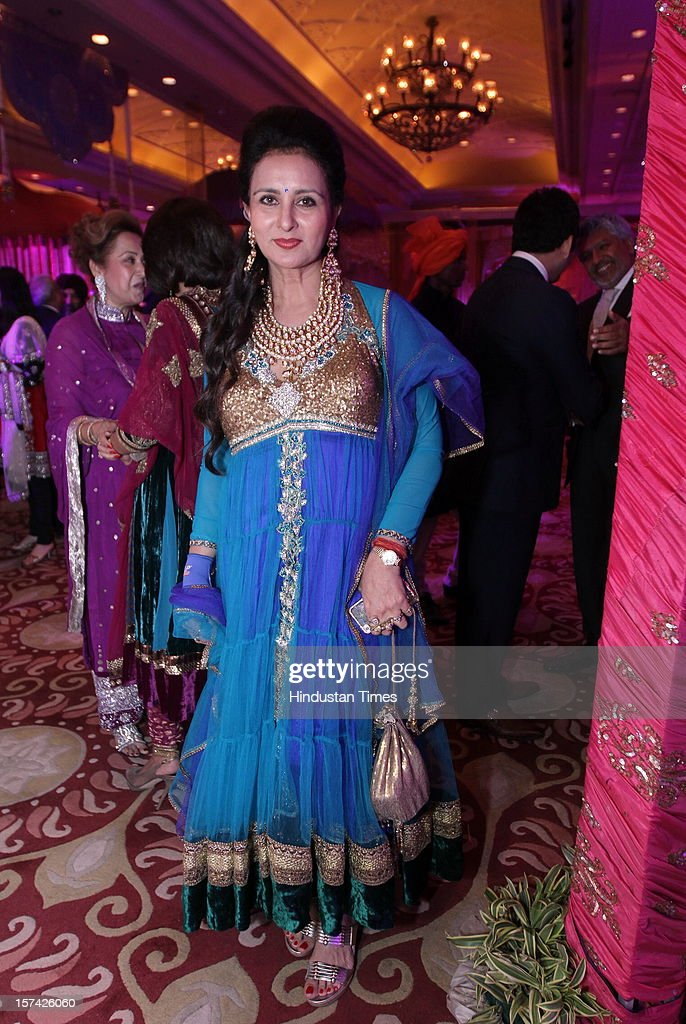 Indian actress Poonam Dhillon attending the marriage reception of YES Bank founder Rana Kapoor's daughter at Taj Palace on November 30, 2012 in New Delhi, India. Kapoor is the MD & CEO of YES Bank, which is the 4th largest private sector bank in the country.