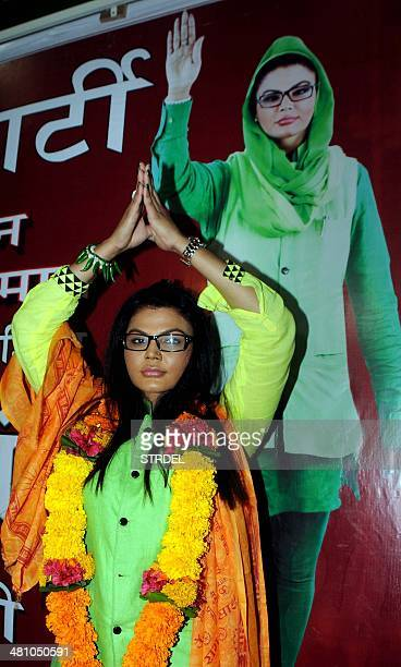 Indian actress Rakhi Sawant poses during an event for the announcement of her Rashtriya Aam Party for the Mumbai North constituency in the...