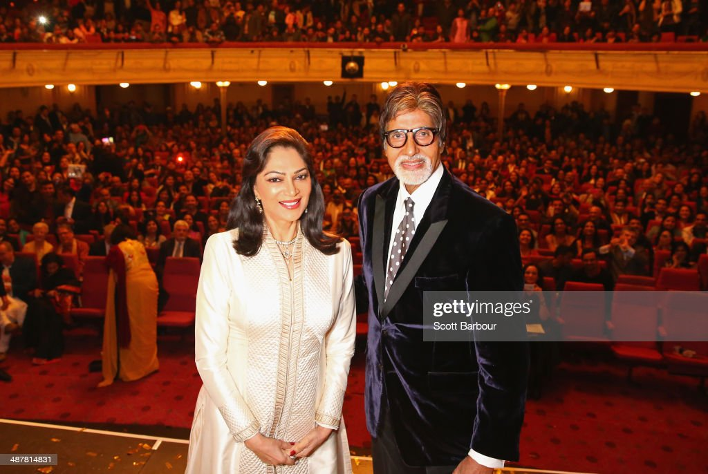 Indian actress, Simi Garewal and Indian film actor, <a gi-track='captionPersonalityLinkClicked' href=/galleries/search?phrase=Amitabh+Bachchan&family=editorial&specificpeople=220394 ng-click='$event.stopPropagation()'>Amitabh Bachchan</a> pose on stage during the Indian Film Festival of Melbourne Awards at Princess Theatre on May 2, 2014 in Melbourne, Australia.