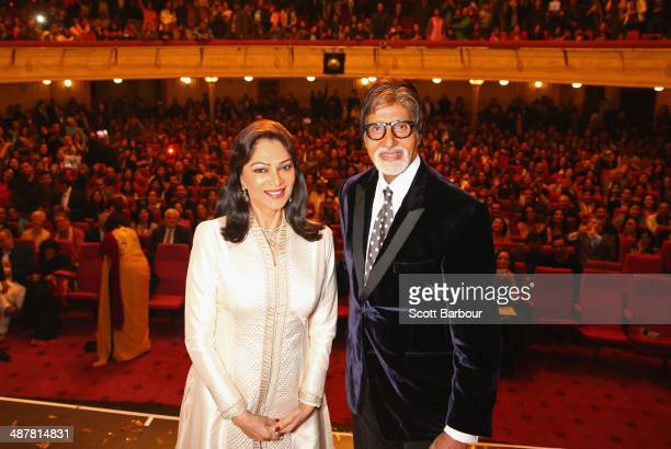Indian actress Simi Garewal and Indian film actor Amitabh Bachchan pose on stage during the Indian Film Festival of Melbourne Awards at Princess...