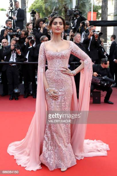 Indian actress Sonam Kapoor poses as she arrives on May 21 2017 for the screening of the film 'The Meyerowitz Stories ' at the 70th edition of the...