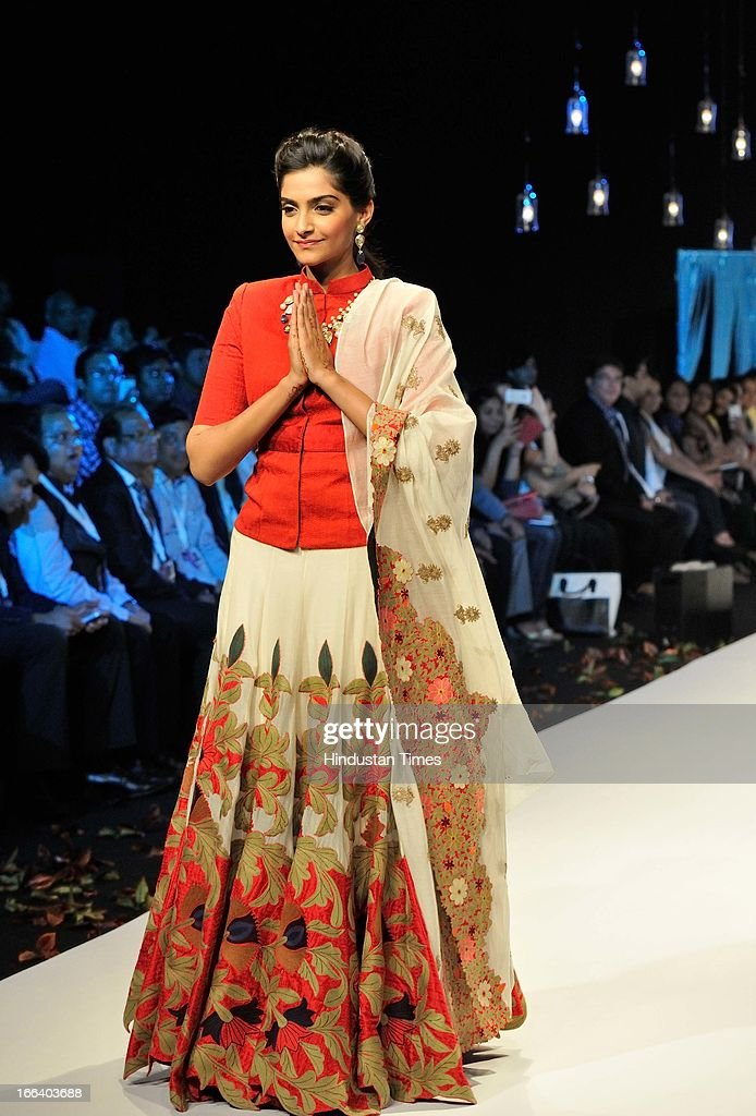 Indian actress Sonam Kapoor walks the ramp during a fashion show at the Indian Gem and Jewellery Fair on April 12, 2013 in New Delhi, India. Over 100 jewellers and designers are participating in the IGJF held from 12th - 15th April, 2013. One of the largest market of gold, India imported $39.5 billion of gold in first nine months of last fiscal and exported gold jewellery to the tune of $12.12 billion in the same period.